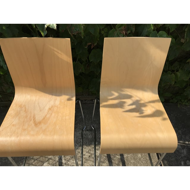 Modern Wooden Stools - a Pair For Sale In New York - Image 6 of 7