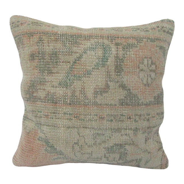 Vintage Turkish Washed Out Decorative Pillow Cover For Sale