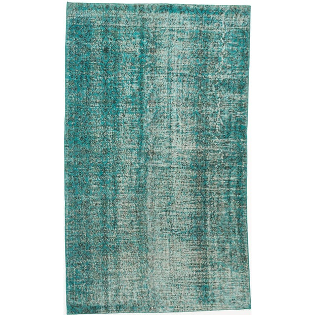 "Turquoise Vintage Turkish Overdyed Rug - 5' X 8'7"" - Image 1 of 2"