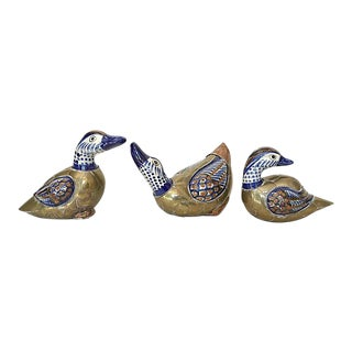 Vintage Brass & Ceramic Tonala Ducks - Set of 3 For Sale
