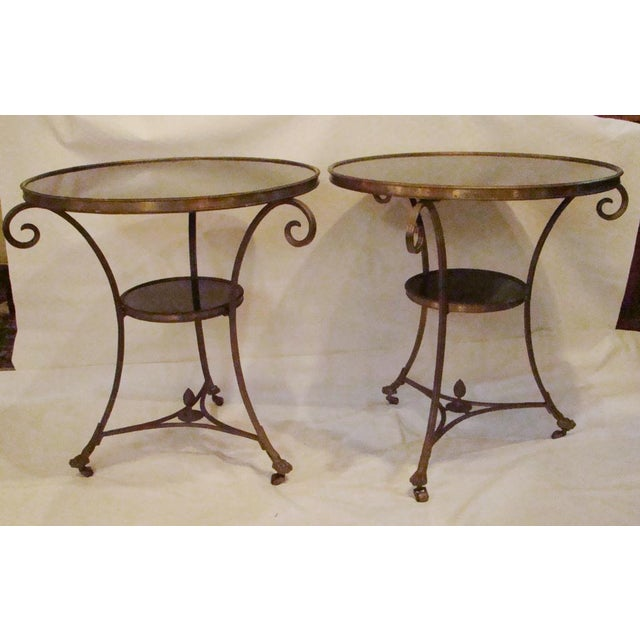 Gueridon Brass and Marble Round End Tables, These handsome Gueridon brass and marble end tables are both timeless and...
