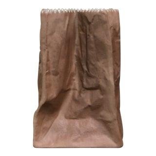 Mid-Century Paper Bag Ceramic Vase For Sale