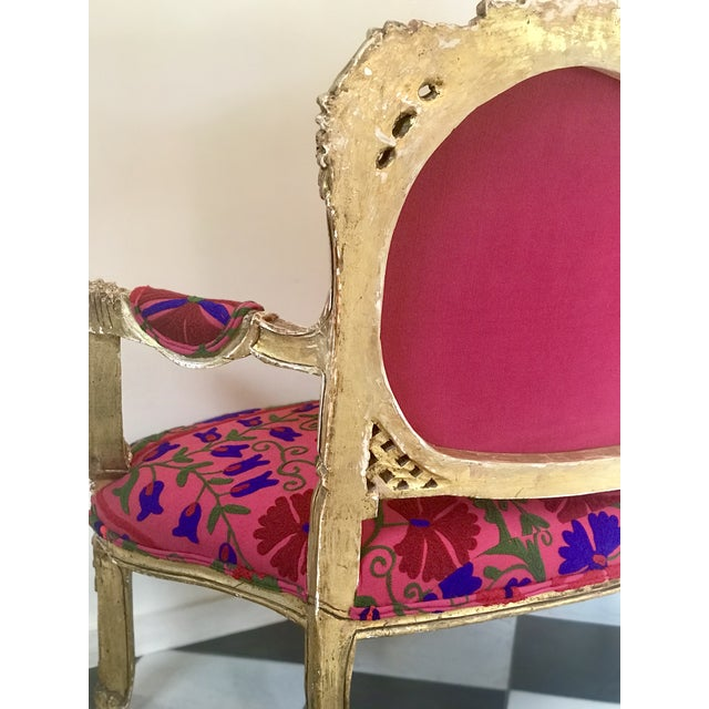 20th Century Boho Chic Red and Hot Pink Velvet French Settee - Image 10 of 11