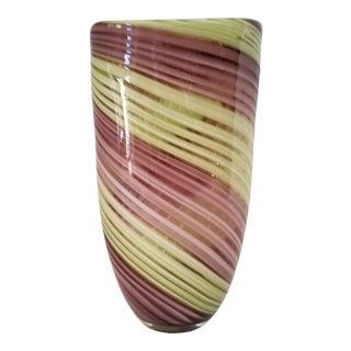 "1990s ""Diamond Star"" Art Glass Colored Swirl Vase For Sale"