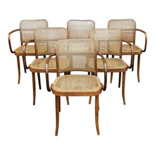 Set 6 1960s Czechoslovakian Josef Hoffman for Stendig Prague #811 Bentwood Caned Armchairs For Sale