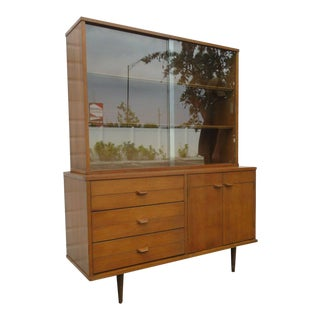 Mid Century Modern Two Part Display China Cabinet Bookcase Cupboard For Sale
