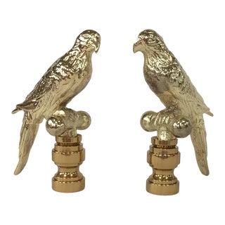 Gold Parrot Finials – Pair For Sale