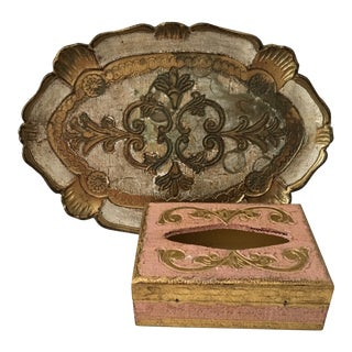 1950s Florentine Gilt Oval Tray & Wooden Tissue Box