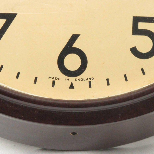 Smith Huge Industrial Factory English Art Deco Bakelite Wall Clock For Sale In Atlanta - Image 6 of 10