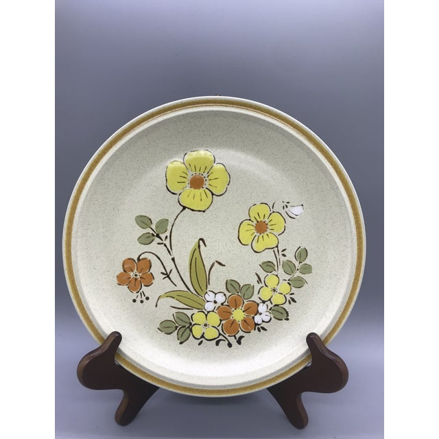 Ceramic Hearthside Garden Festival's Sunshine Flowers Chop & Dinner Plates & Garden Festival Salad Plates - 9 Pieces For Sale - Image 7 of 13