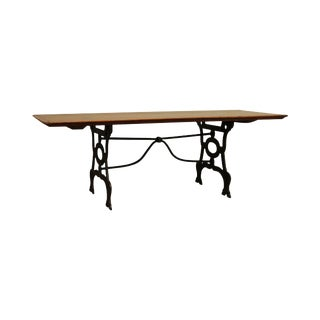 Antique Pine Top Wrought Iron Base Coffee Table For Sale