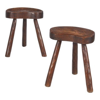 1950s French Country Ashwood Stools - a Pair For Sale