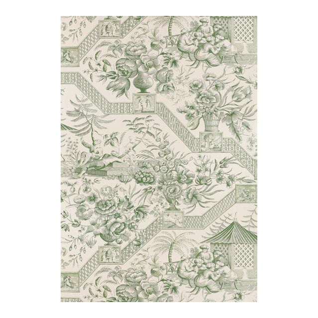 Schumacher Wallpaper Colonial Williamsburg Collection Asian Toile in Jade Green Double Roll For Sale