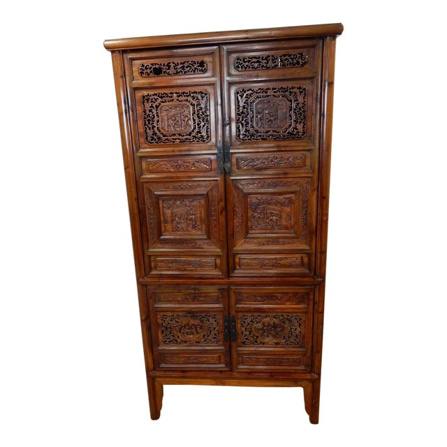 Chinese Carved Teak Wood Cabinet For Sale