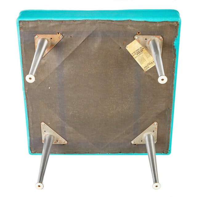 Large Mid-Century Modern Square Bench Stool For Sale - Image 4 of 6