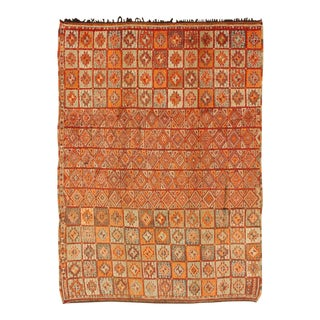 Vintage Moroccan Rug in Autumn Colors, Red, Pumpkin, Orange and Light Green For Sale