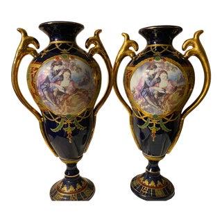 Vintage Cobalt Porcelain Urns For Sale