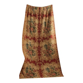 Antique Printed Block Printed Linen Curtain 1900 Rust Autumnal Tones Drape For Sale