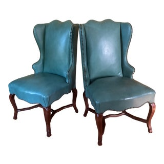 1960s Vintage Turquoise Leather Formal Chairs - a Pair For Sale