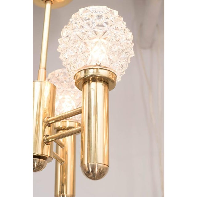 1960s Chic Mid-Century Modernist Three-Arm Brass Chandelier with Faceted Globes For Sale - Image 5 of 6