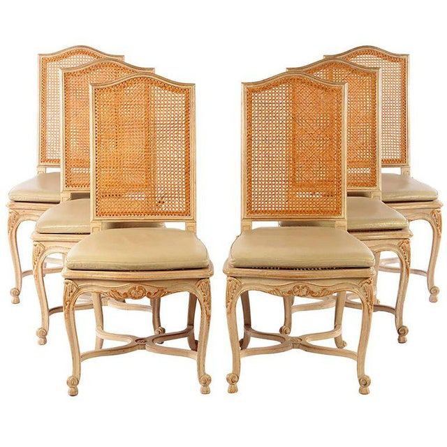 Mid 20th Century Set of Six Louis XV Style High Back Caned and Painted Dining Chairs For Sale - Image 5 of 5