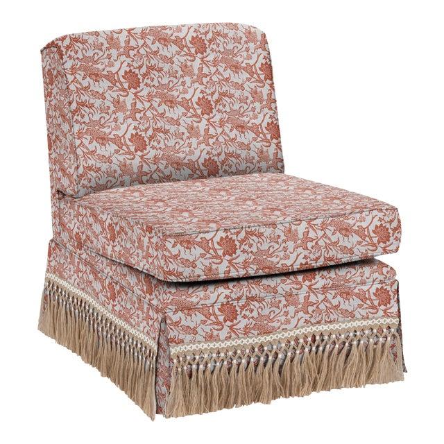 LuRu Home for Casa Cosima Skirted Slipper Chair, Prussian Carp, Paprika For Sale