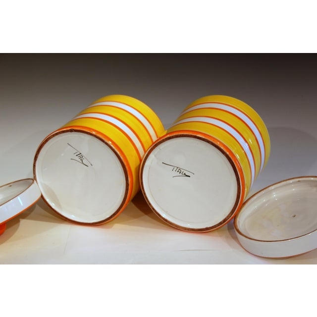1960s Italian Pottery Stripes Vintage Raymor Canisters - a Pair For Sale - Image 5 of 12