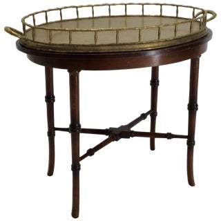 20th Century Chippendale Faux Bamboo Brass Tray Table For Sale