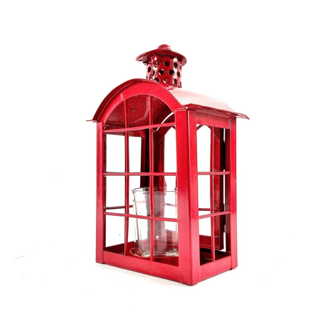 2010s Red Metal Votive Candle Lantern For Sale - Image 5 of 10
