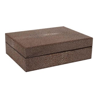 Mid Century Modern Java & Cream Shagreen Box with Coffee Suede Lined Interior For Sale