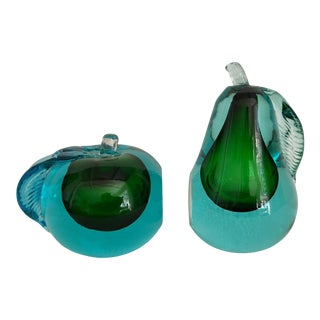 Mid Century Murano Apple & Pear Bookends - a Pair For Sale