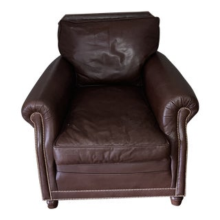 Leather and Brass Club Chair For Sale