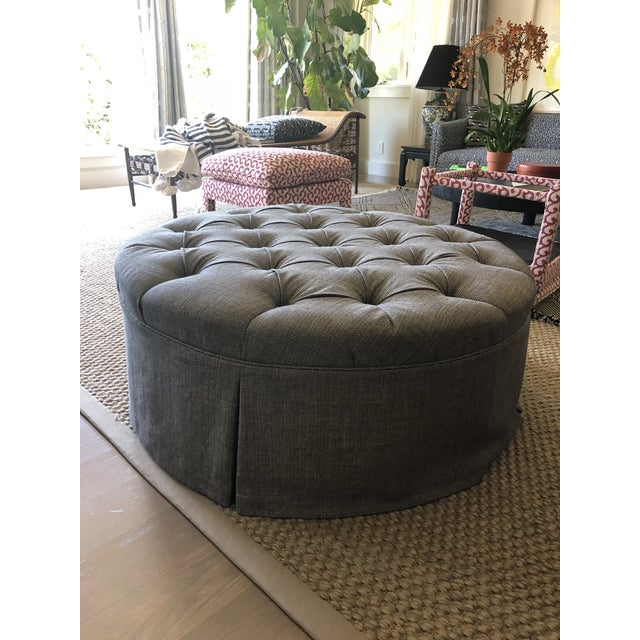 2000 - 2009 Tufted Ottoman Upholstered in 'Romo' Tweed Wool For Sale - Image 5 of 5
