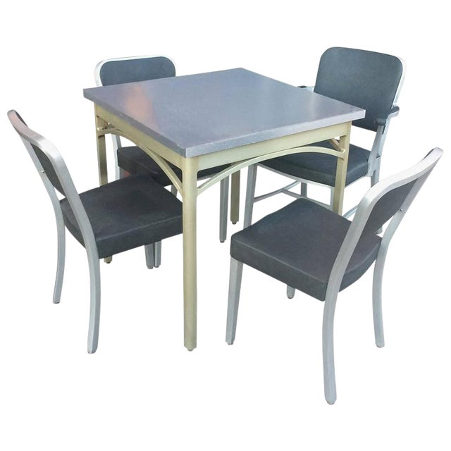 1940s Mid-Century Modern Brushed Aluminium Dining Set - 5 Pieces For Sale