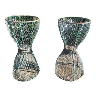 1960s Vintage French Hourglass Wire Planters- A Pair For Sale