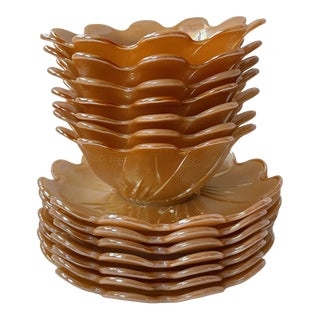 Orange Carnival Glass Dessert Bowls and Saucers - Set of 14 For Sale