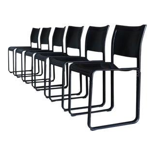 Tito Agnoli Black Leather Sistina Dining Chairs for Matteo Grassi, Circa 1980 For Sale