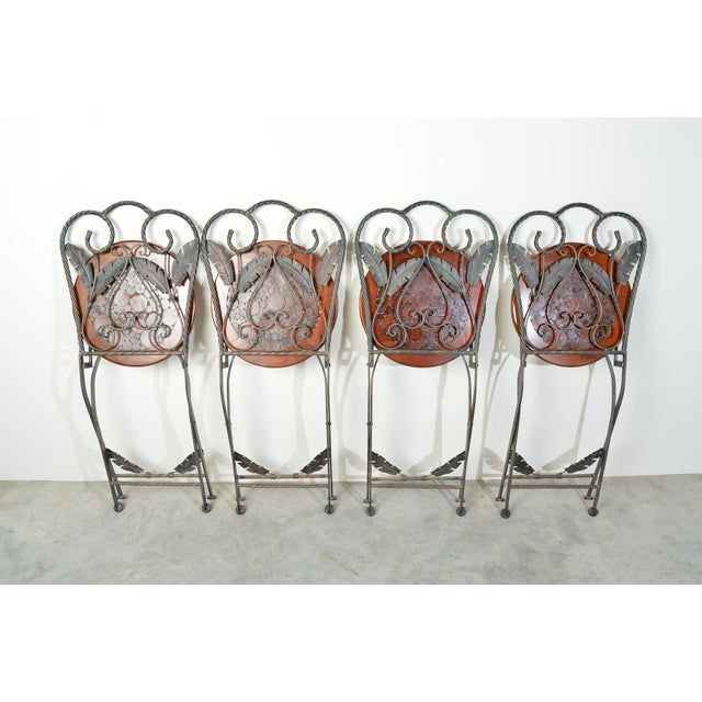4 Folding French Bistro Chairs in Oak and Wrought Iron For Sale - Image 4 of 7