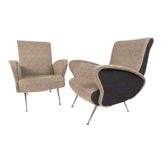 Pair of Italian Modern Sculptural Lounge Chairs For Sale
