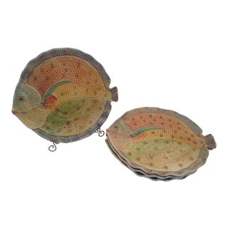 Fish Platter/Plates Made in Italy - Set of 4 For Sale