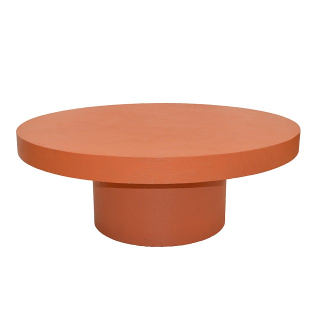 Contemporary Orange Grass Cloth Coffee Table For Sale - Image 4 of 4