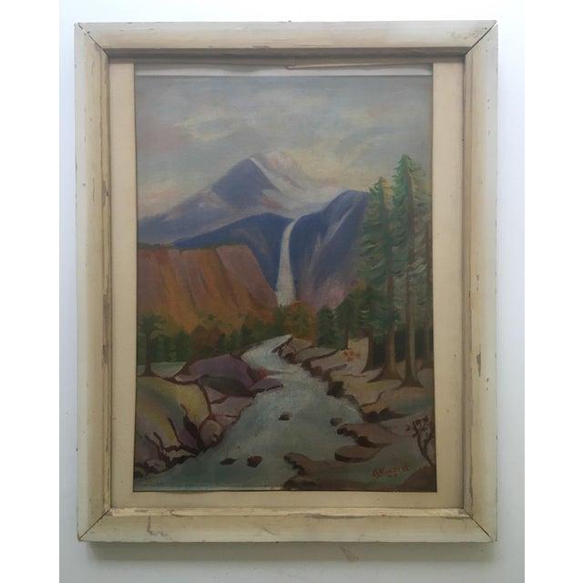 1940's Primitive Landscape Painting - Image 2 of 6