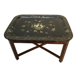 19th Century English Papier Mache Hand Painted Tray Table For Sale