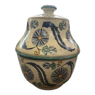 Vintage Handpainted Blue Traditional Large Moroccan Pottery Lidded Tagine Vessel For Sale