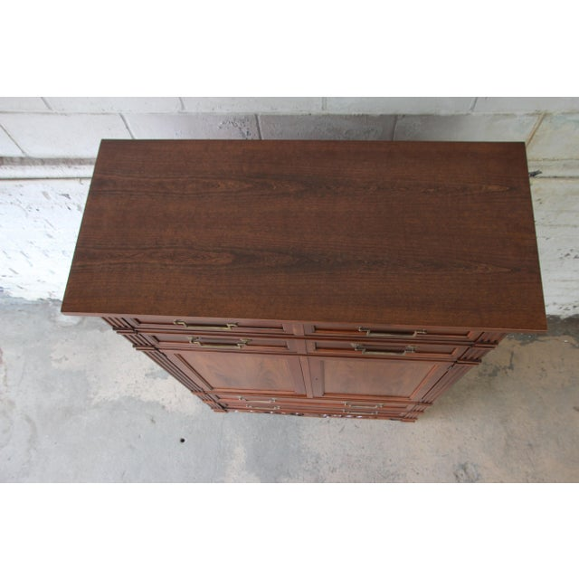 Baker Furniture French Regency Style Cherry Wood Armoire Dresser Chest For Sale - Image 9 of 11