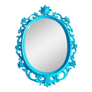 Vintage French Turquoise Blue Oval Mirror