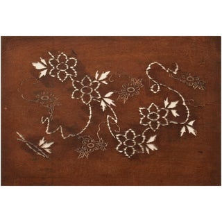 C. 1850 Antique Edo Era Japanese Katagami Flower Stencil Art For Sale