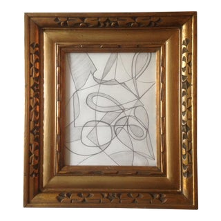Pucci Style Abstract Graphite Drawing in Gold Frame For Sale