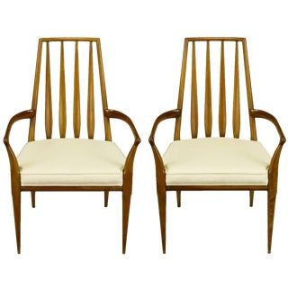 Pair of Bert England Sculpted Walnut and Off-White Linen Slatback Armchairs For Sale