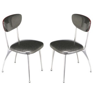 Pair of 1950s Shelby Williams Polished Aluminum Gazelle Side Chairs For Sale